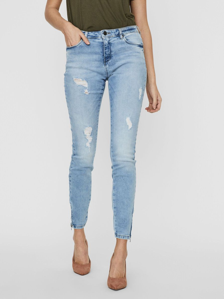 NMKIMMY CROPPED NORMAL WAIST SKINNY FIT JEANS, Light Blue Denim, highres
