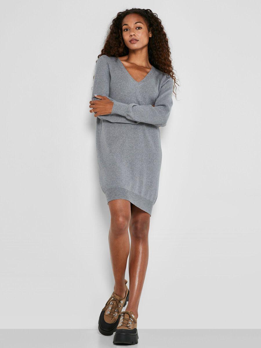 KNITTED SHORT DRESS, Medium Grey Melange, highres