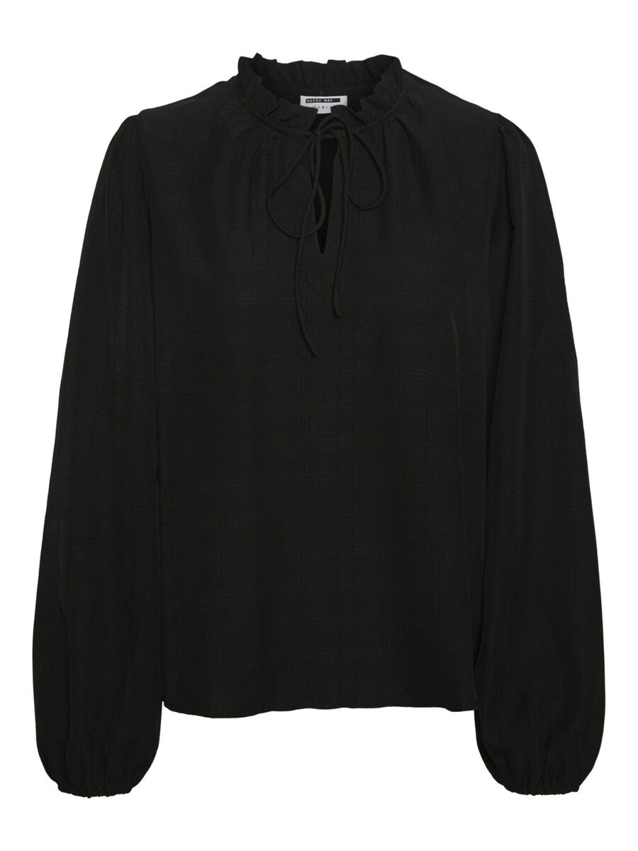 CREPED FABRIC BLOUSE, Black, highres