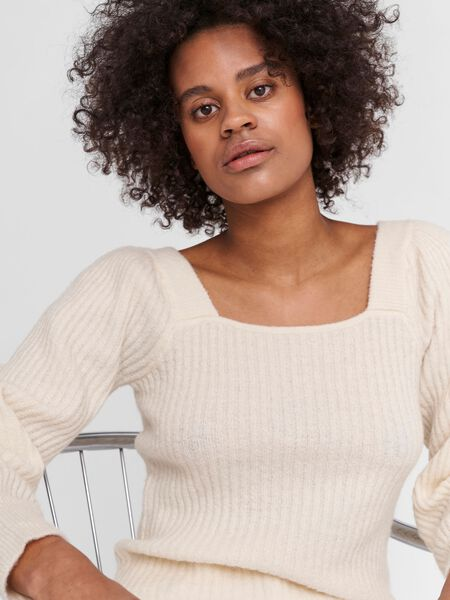 PUFF SLEEVED KNITTED PULLOVER