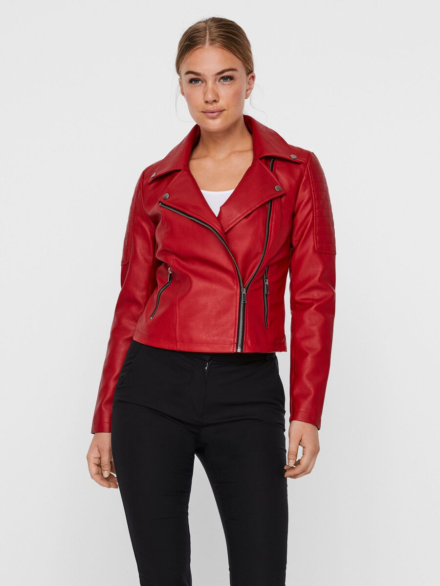 LEATHER-LOOK JACKET, Haute Red, highres