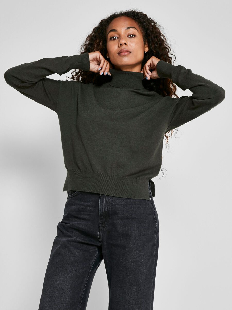 HIGH NECK KNITTED PULLOVER, Rosin, highres