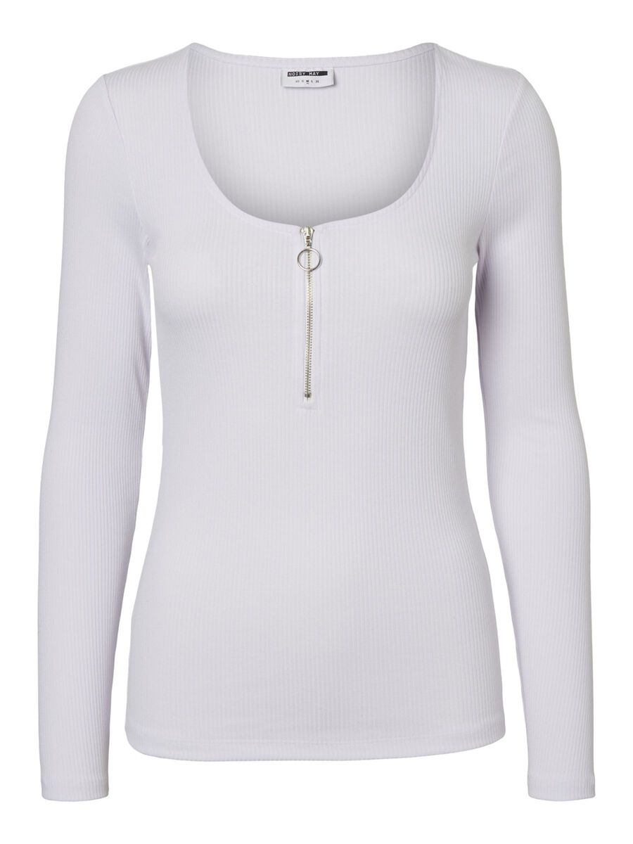 COL ROND BLOUSE À MANCHES LONGUES, Bright White, highres
