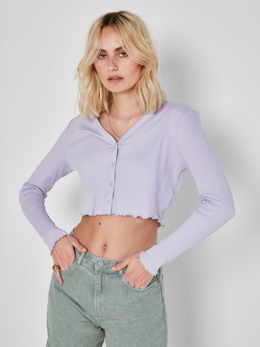 CROPPED CARDIGAN, Pastel Lilac, highres