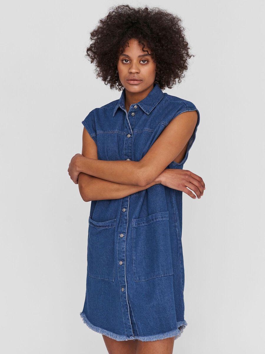 SLEEVELESS DENIM DRESS, Medium Blue Denim, highres