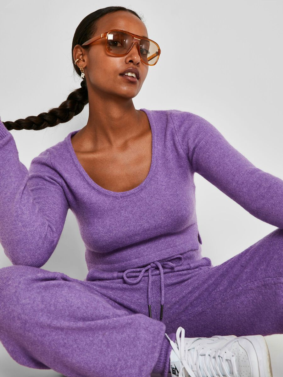 CROPPED KNITTED TOP, Amethyst Orchid, highres