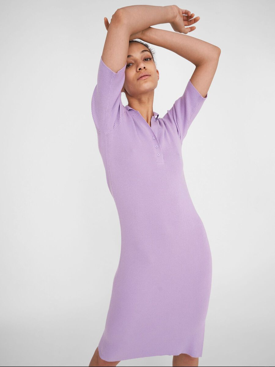 SHORT SLEEVED KNITTED DRESS, Orchid Bloom, highres