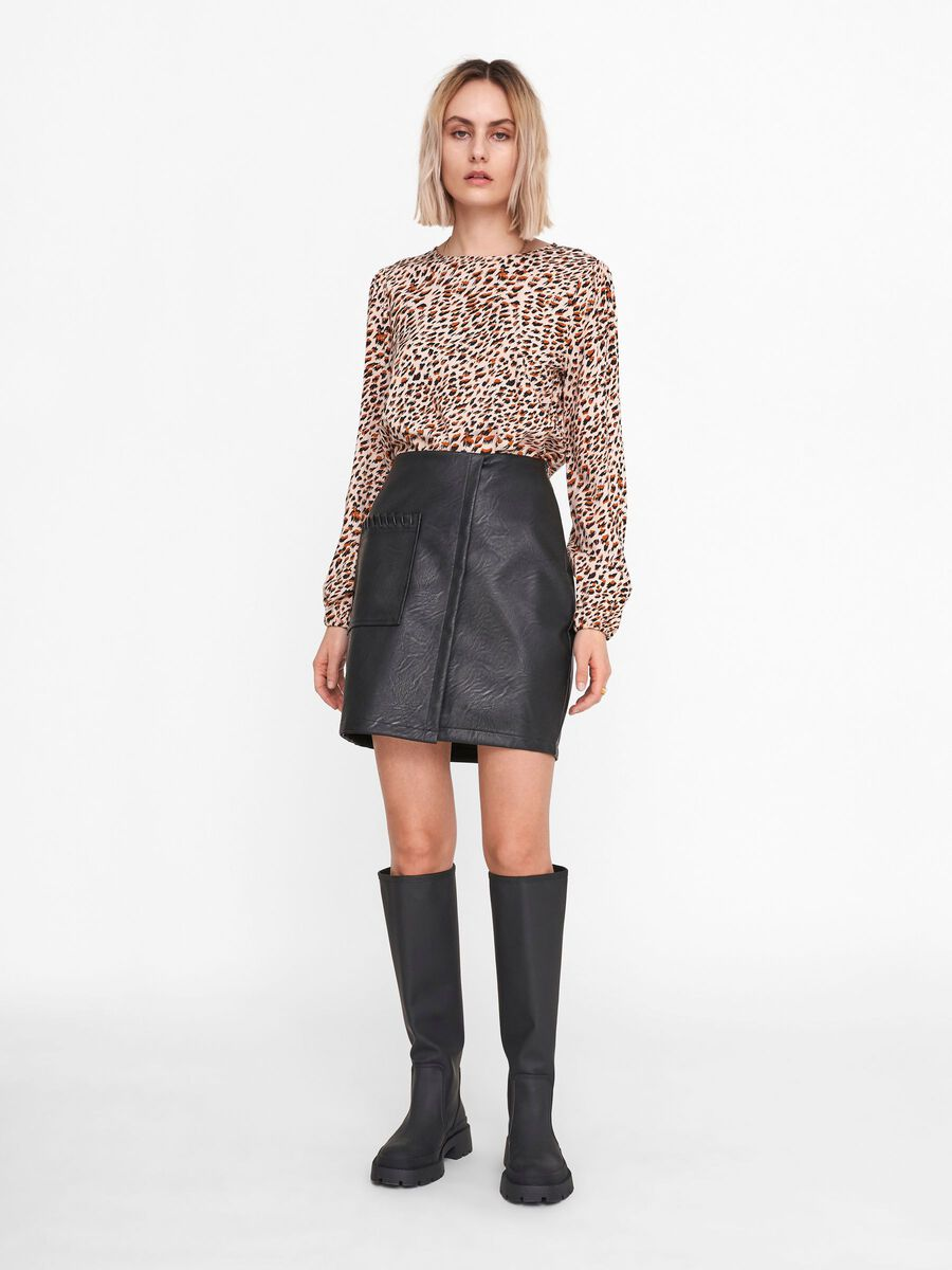 FAUX LEATHER WRAP SKIRT, Black, highres