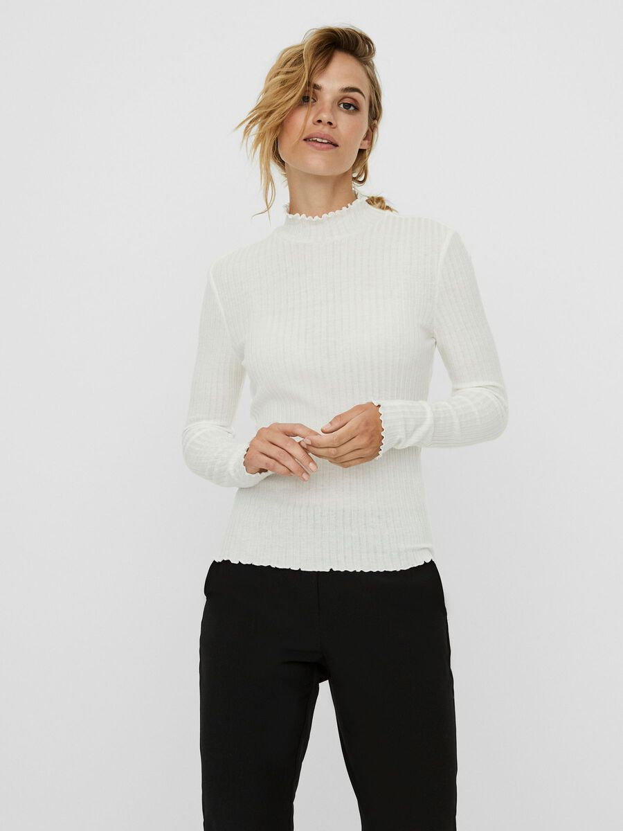 HIGH NECK KNITTED TOP, Sugar Swizzle, highres