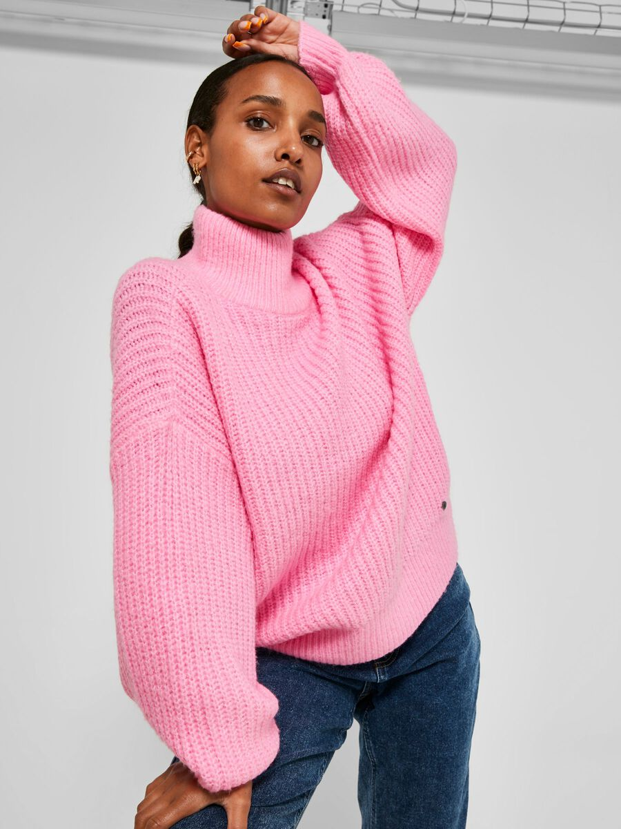 CHUNKY KNITTED PULLOVER, Begonia Pink, highres