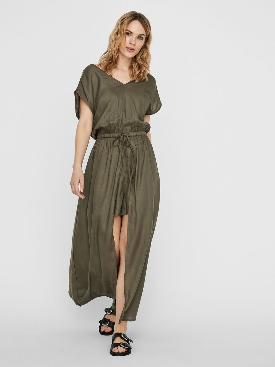 LONG PLAYSUIT, Dusty Olive, highres