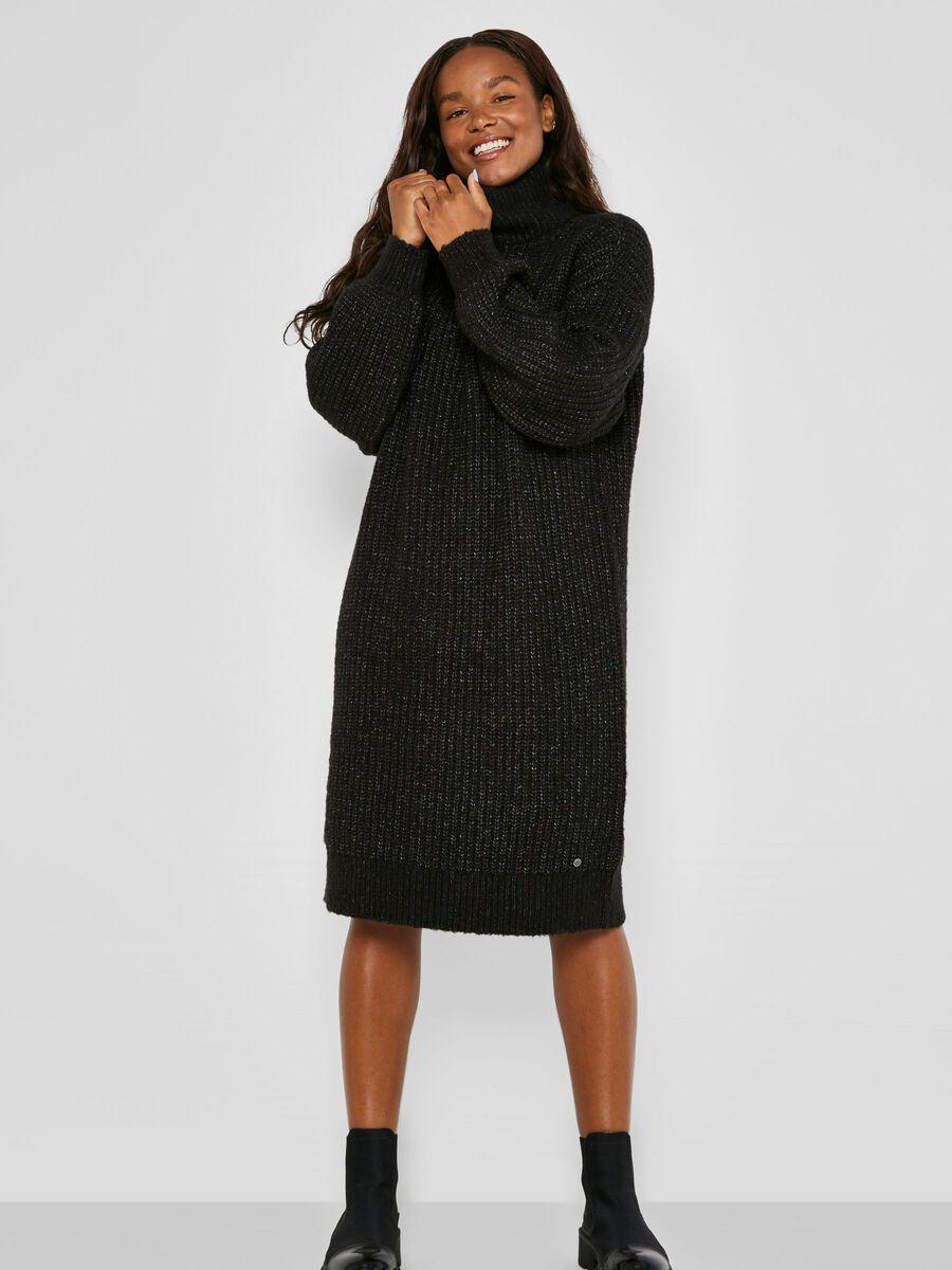HIGH NECK KNITTED DRESS, Dark Grey Melange, highres