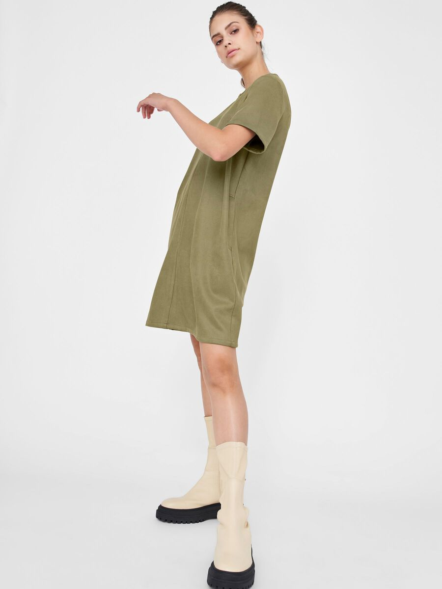 FAUX SUEDE DRESS, Aloe, highres