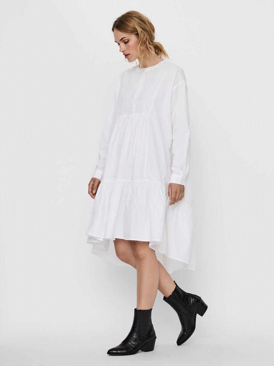 O-NECK MIDI DRESS, Bright White, highres