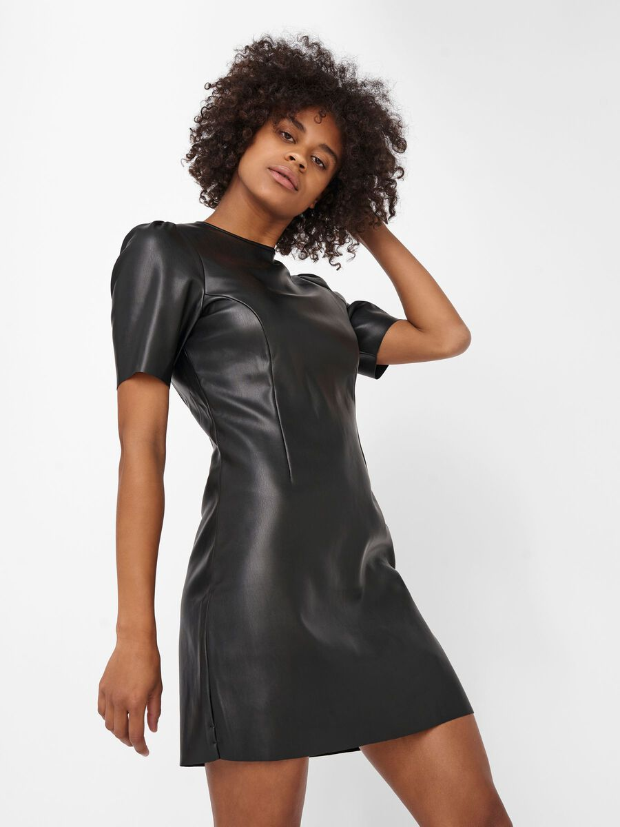 COATED MINI DRESS, Black, highres