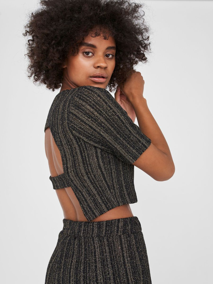 CROPPED PULLOVER, Black, highres