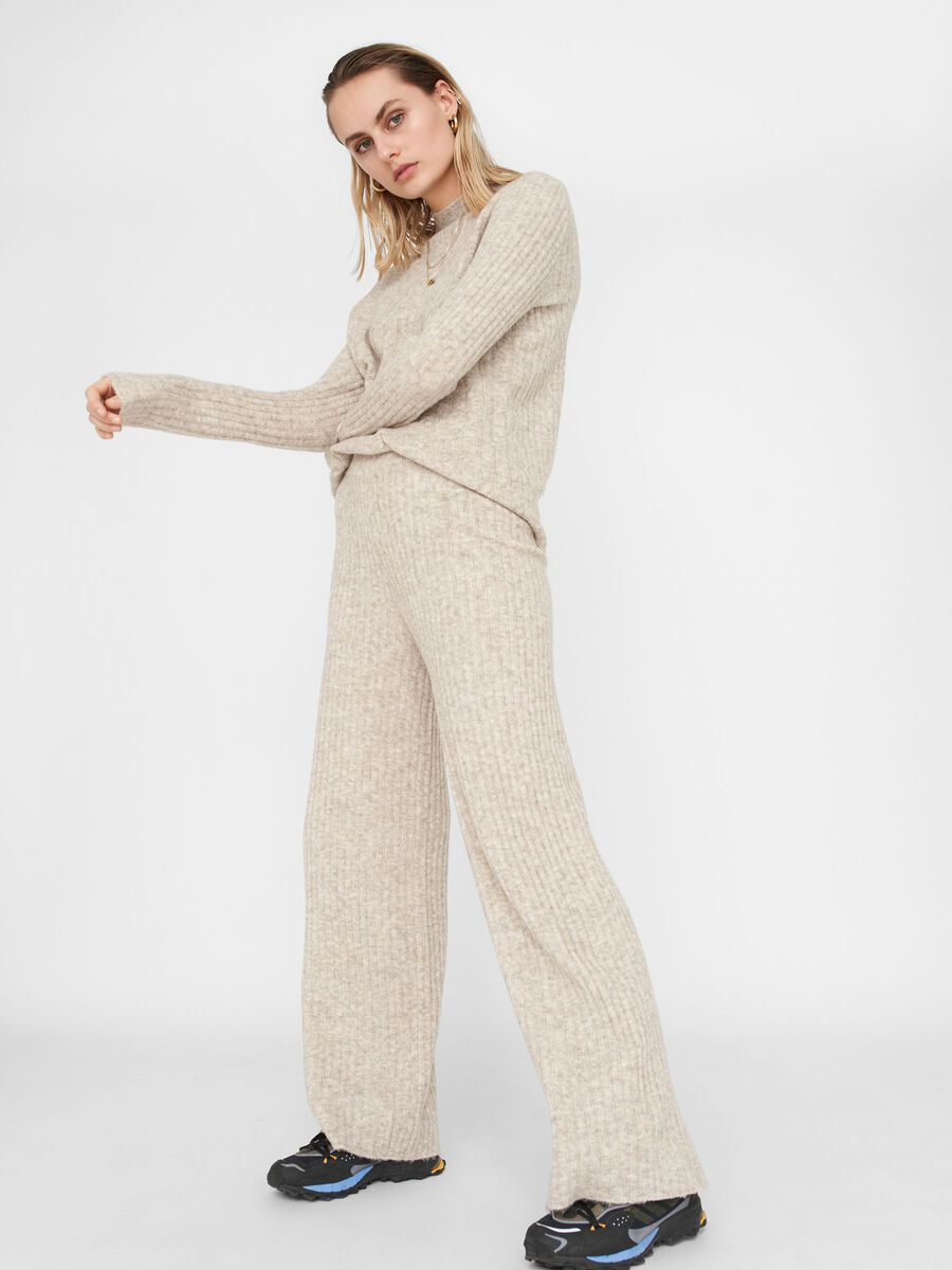LOOSE FITTED KNIT TROUSERS, Chateau Gray, highres