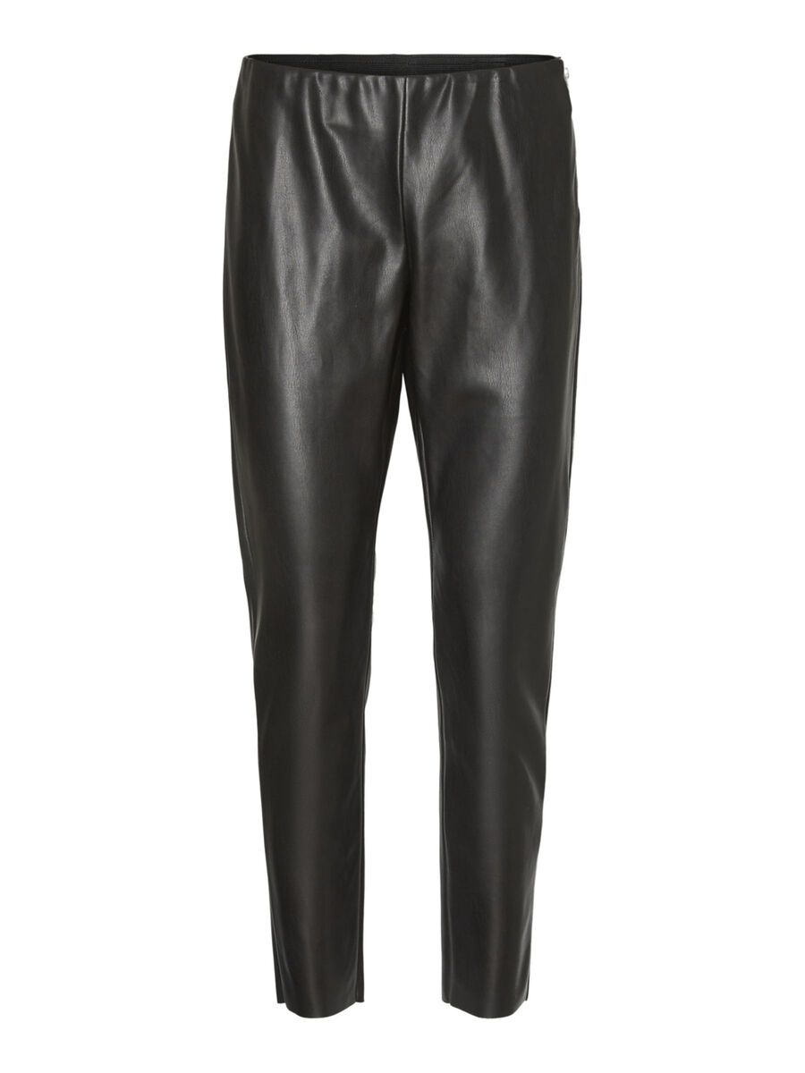 Noisy May COATED NORMAL WAIST ANKLE TROUSERS, Black, highres - 27012973_Black_001.jpg