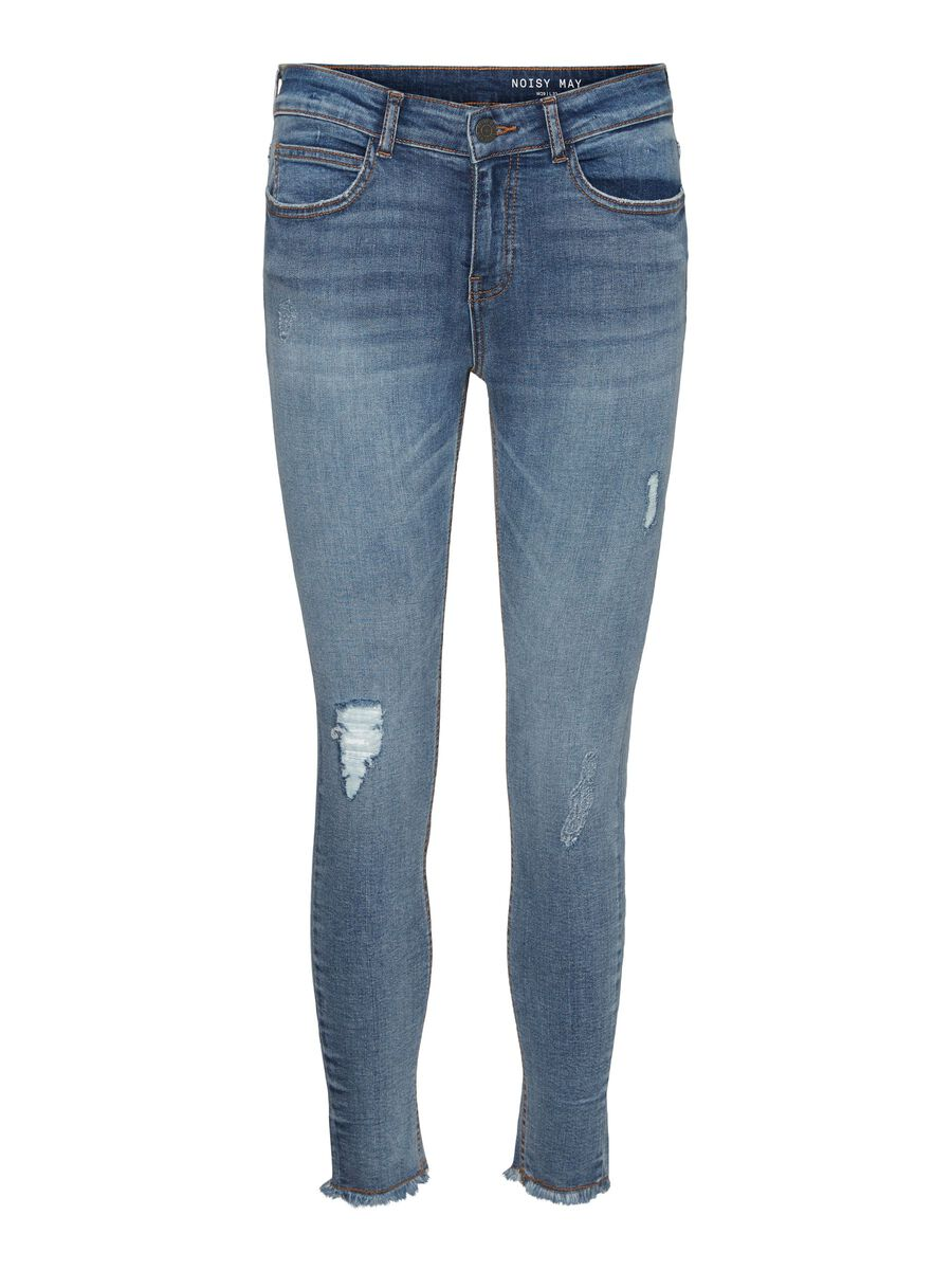 NMLUCY CROPPED ANKLE NORMAL WAIST SKINNY FIT JEANS, Light Blue Denim, highres