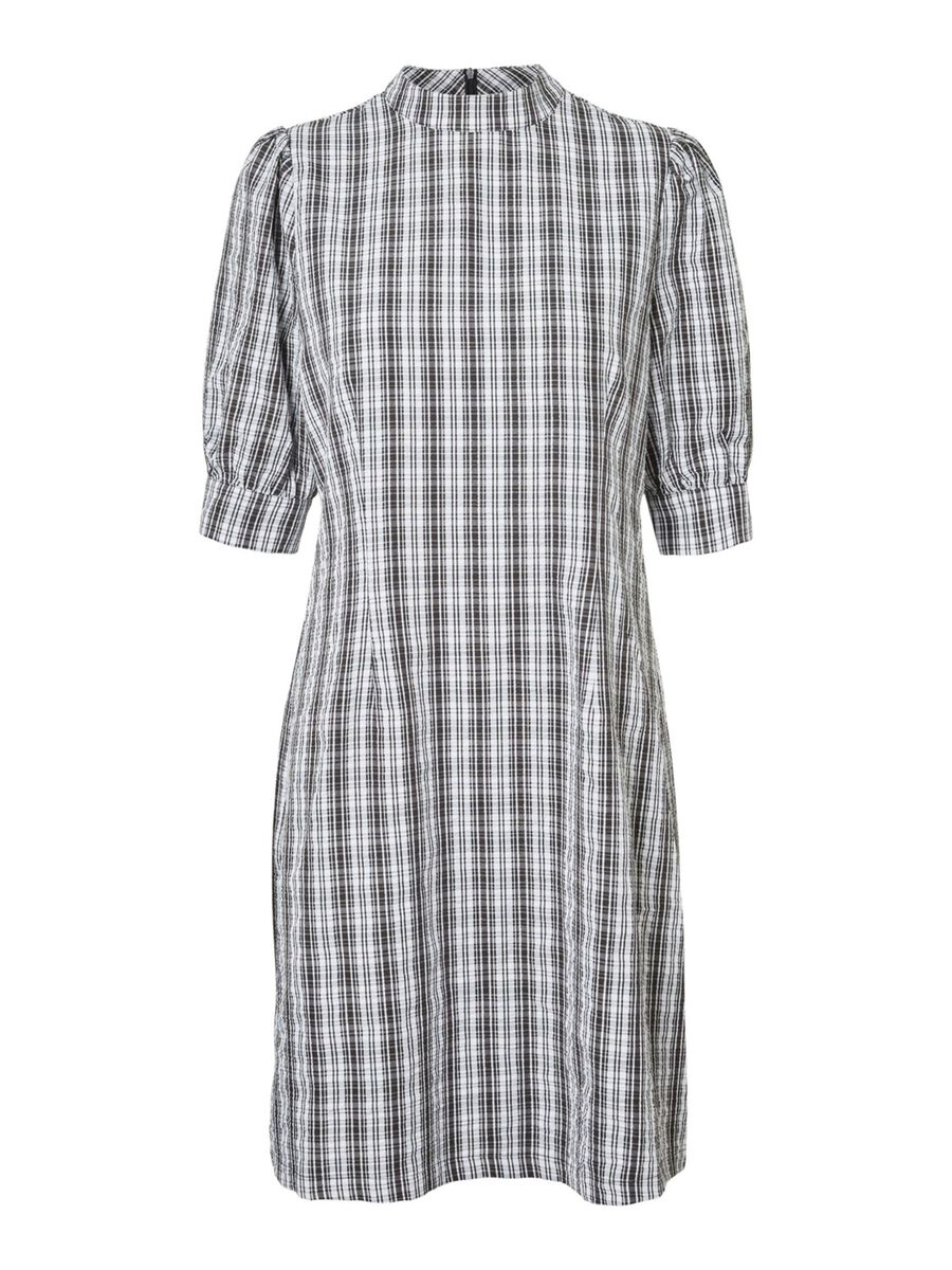 CHEQUERED PUFF SLEEVED DRESS, Black, highres