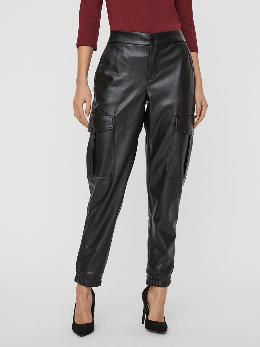 COATED TROUSERS, Black, highres