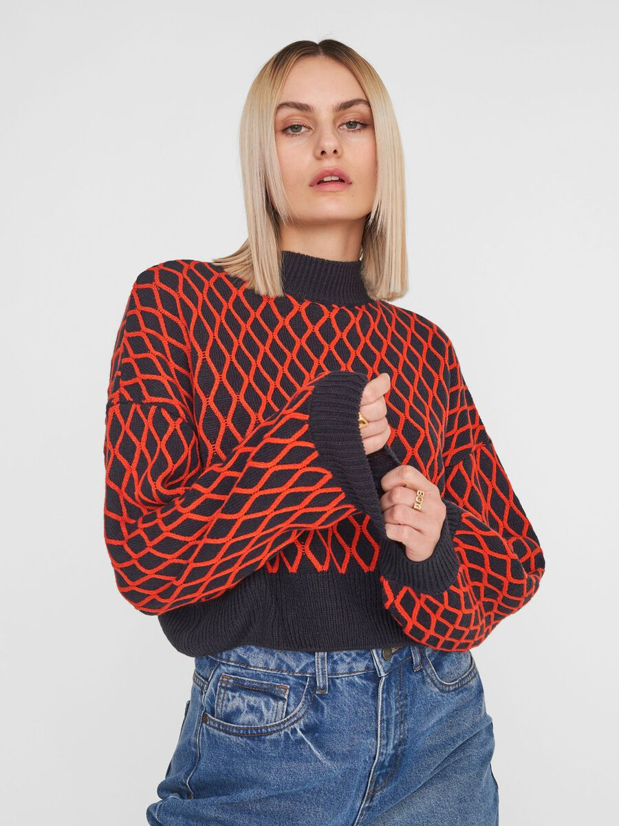 HIGH NECK KNITTED PULLOVER, Night Sky, highres