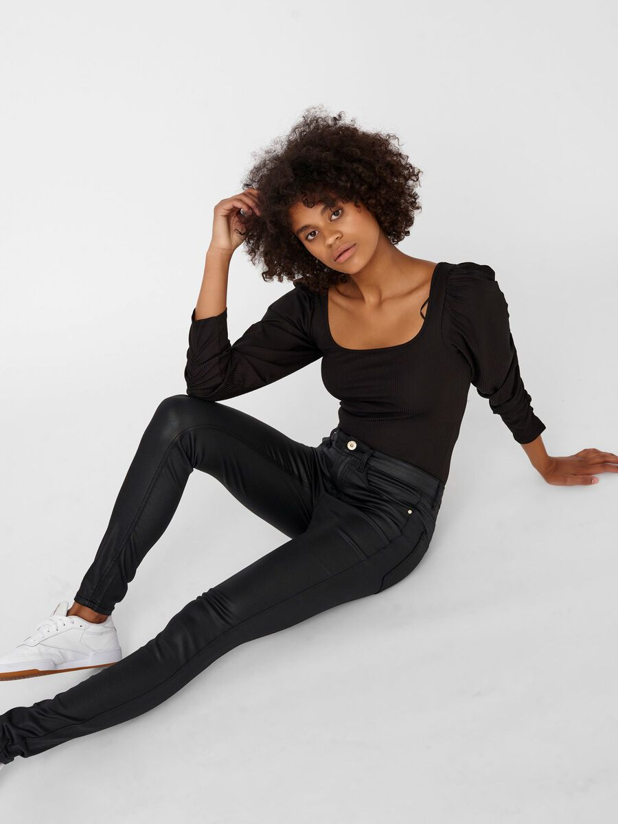 NMLUCY NORMAL WAIST COATED TROUSERS, Black, highres