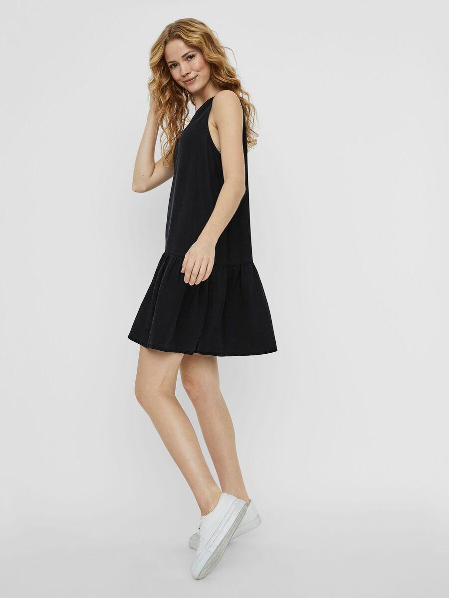 PEPLUM DRESS, Black, highres