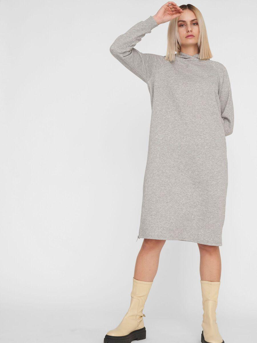LONG SWEAT DRESS, Light Grey Melange, highres
