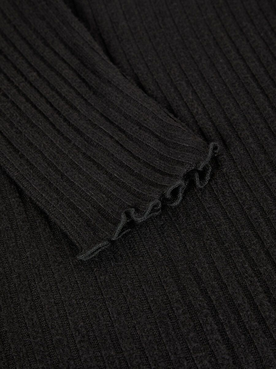 HIGH NECK KNITTED TOP, Black, highres