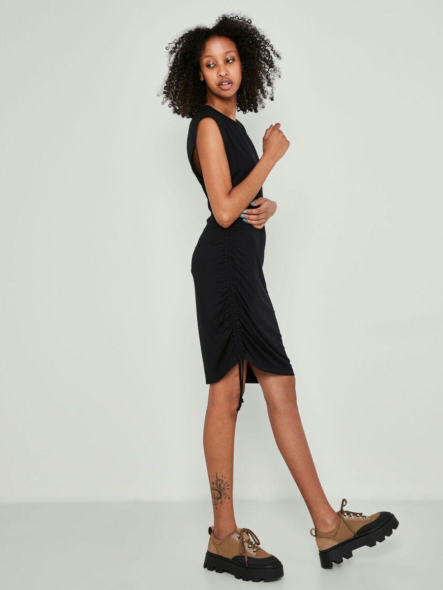 SLEEVELESS SHORT DRESS, Black, highres